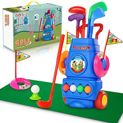 Otes Kinder Golf Spielzeug Club Set, Golfwagen mit Rädern, Schlagmatte und handgehaltenem Zuggriff,...